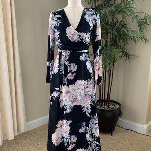 Gianni Bini Long Sleeve Floral Chiffon Wrap Dress